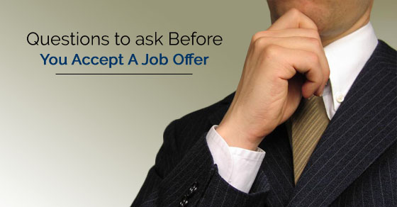 questions to ask yourself before accepting a job offer