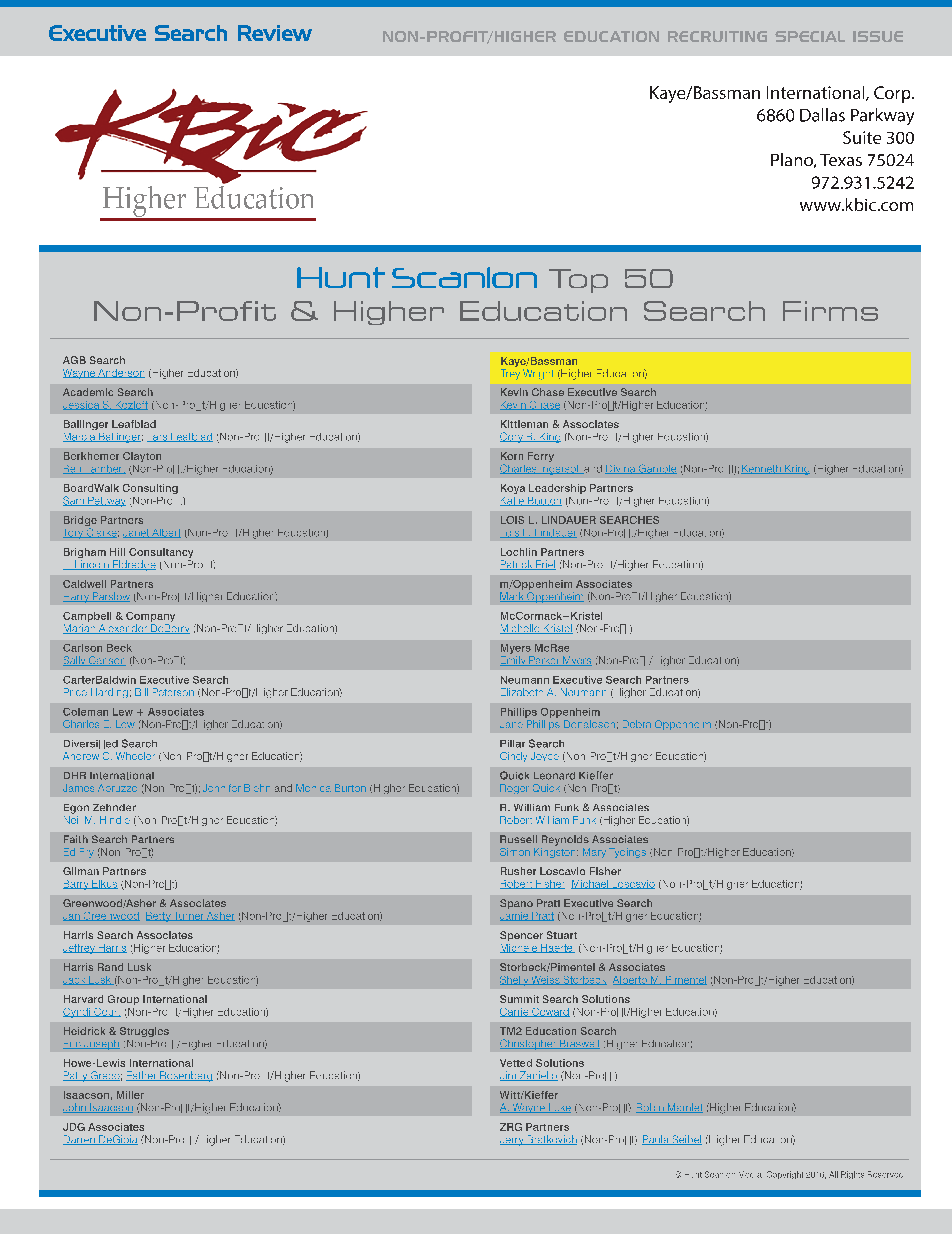 Hunct Scanlon Top 50 Non-Profit & Higher Education Search Firms